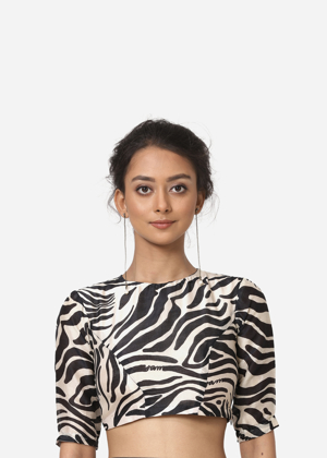Silk Chanderi Black and White Blouse